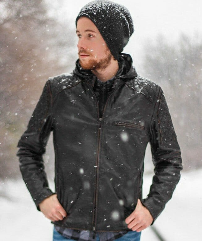 The Kentucky Gent in Andrew Marc Leather Jacket, WeSC Plaid Shirt, WeSC Eddy Jeans, 21Men Puffer Vest, Steve Madden Boots, and 21Men Beanie.