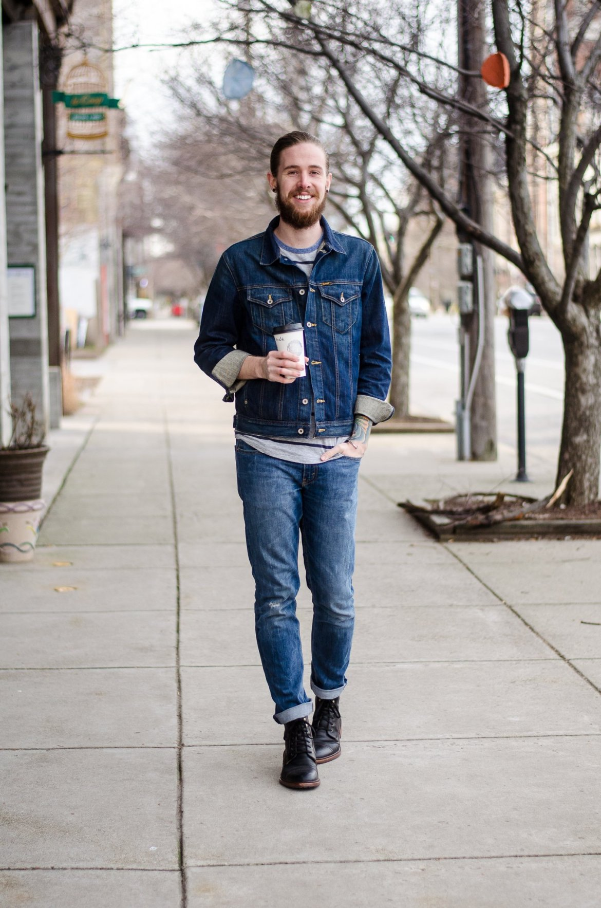 The Kentucky Gent, a Louisville, Kentucky men's life and style blogger, in Big Star Denim Jacket, Aeropostale Baseball Tee, Levi's Jeans, Trask Boots, and Giles & Brother Cuff with Please & Thank You Coffee.