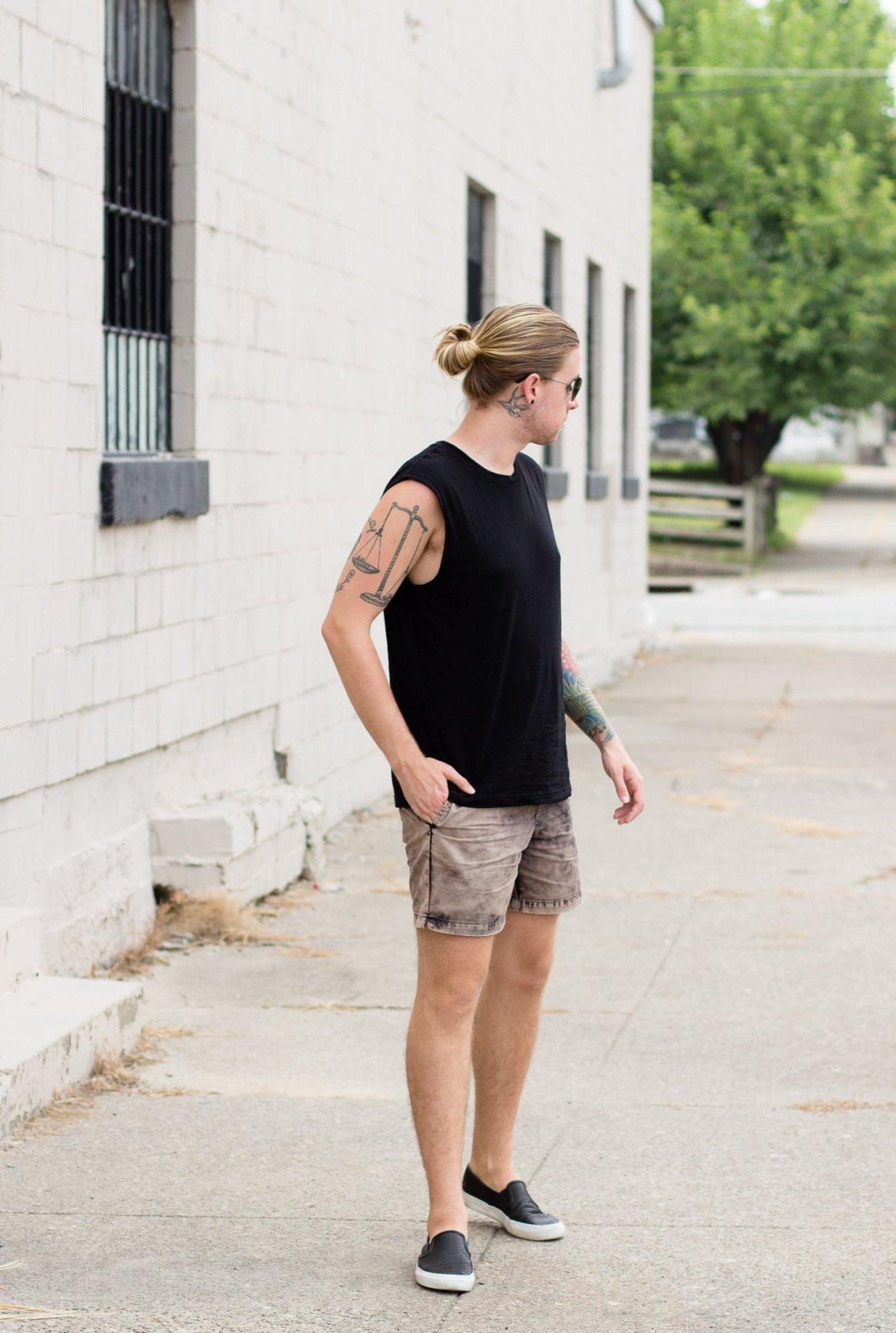 mens summer fashion, rvca, hm, rayon, how to wear a black tank