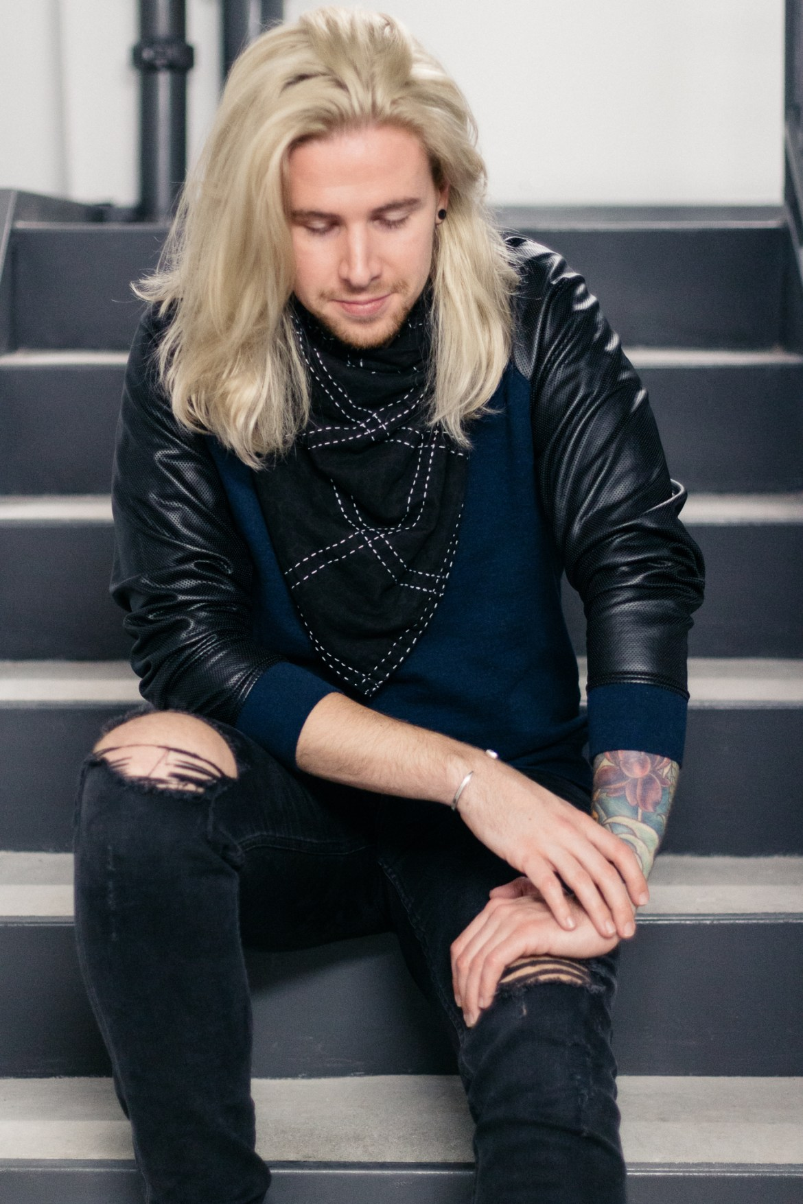 urban outfitters, anchal project, mens fall fashion, aloft hotel louisville, men with platinum blonde hair