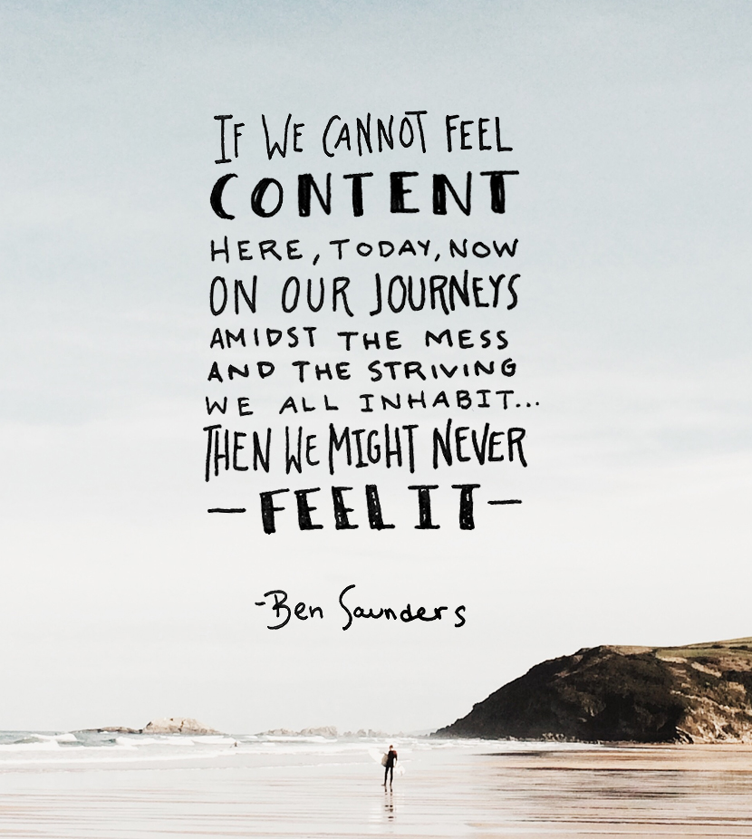 learn to be content here, learn to be content now, ben saunders, typography, hand lettering, the fresh exchange
