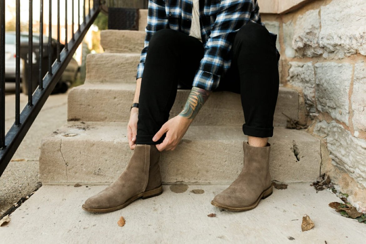 Frye Side Zip Boots with Black Jeans and Plaid Shirt
