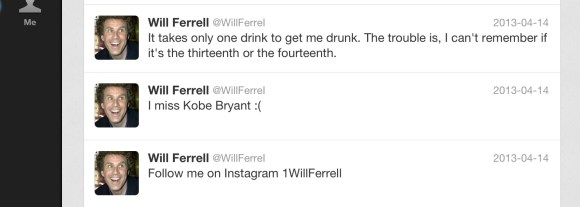 Typical Will Ferrell Tweets - circa April 14 2013