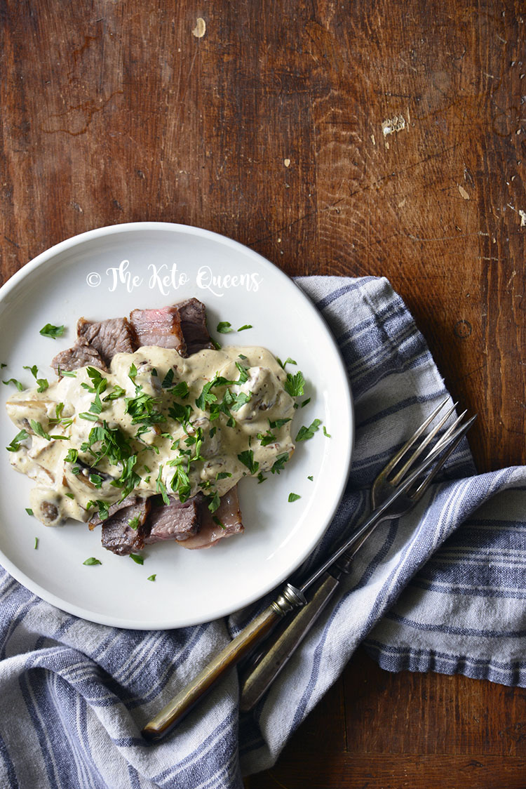 Quick and Easy Mushroom Stroganoff Sauce with Leftover Grilled Steak