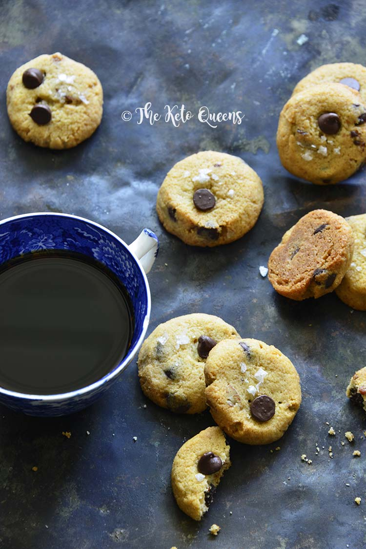 Keto Crunchy Chocolate Chip Cookies with Coffee