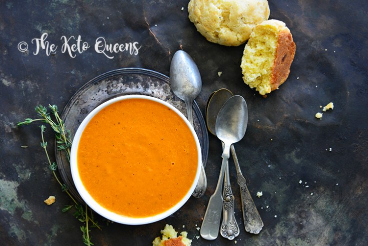image of Keto soup recipe with keto cheddar biscuit