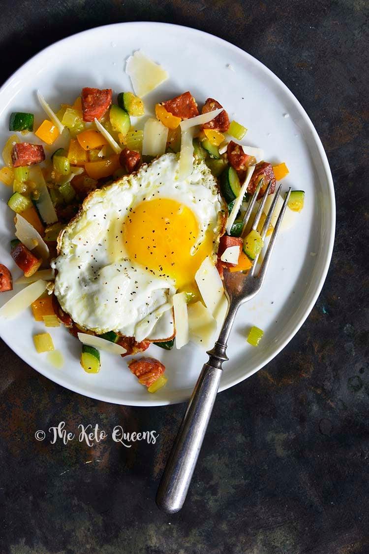 Keto Chorizo Vegetable Hash with Fried Egg