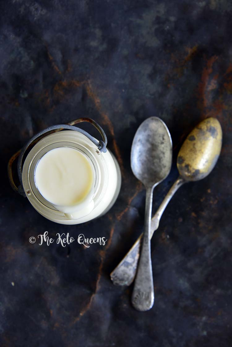 Overhead View of Low Carb Keto Sweetened Condensed Milk