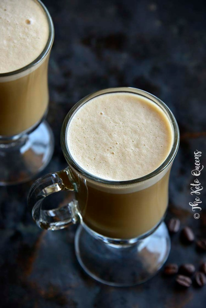 Close Up of Keto Vanilla Cream Bulletproof Coffee