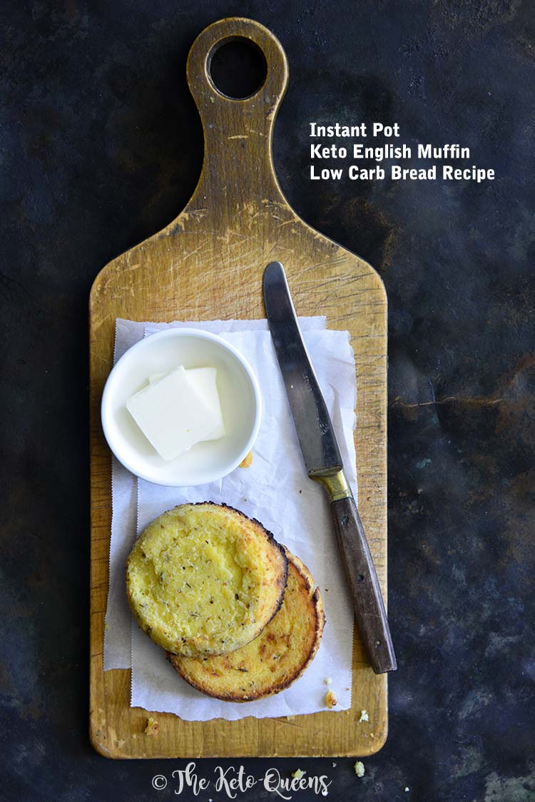This #eto English Muffin recipe is a breakfast game-changer; slather it in butter, use it as the base to make Eggs Benedict, or turn it into a sammy. #LowCarb #ketorecipe #ketoenglishmuffin #lowcarbrecipe #instantpotrecipe
