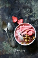 Strawberry Low Carb Ice Cream Recipe on Metal Tray (No Ice Cream Maker)