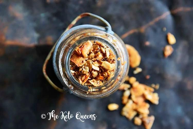 Close Up of Cinnamon Toast Crunch Low Carb Homemade Granola Recipe