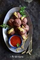 Close Up of Keto Baked Italian Meatball Recipe (Cheese Stuffed)