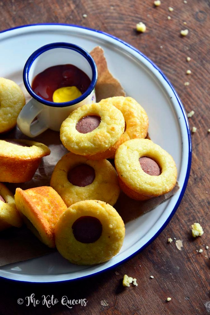 Close Up of Plate of Low Carb Corn Dog Bites Recipe (Kid Friendly Keto Snack)