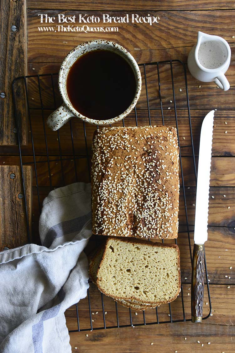 This #LowCarb #Keto Bread is perfect for making into sandwiches or slathering with butter and eating as-is. It has great bread-like texture and no eggy flavor!