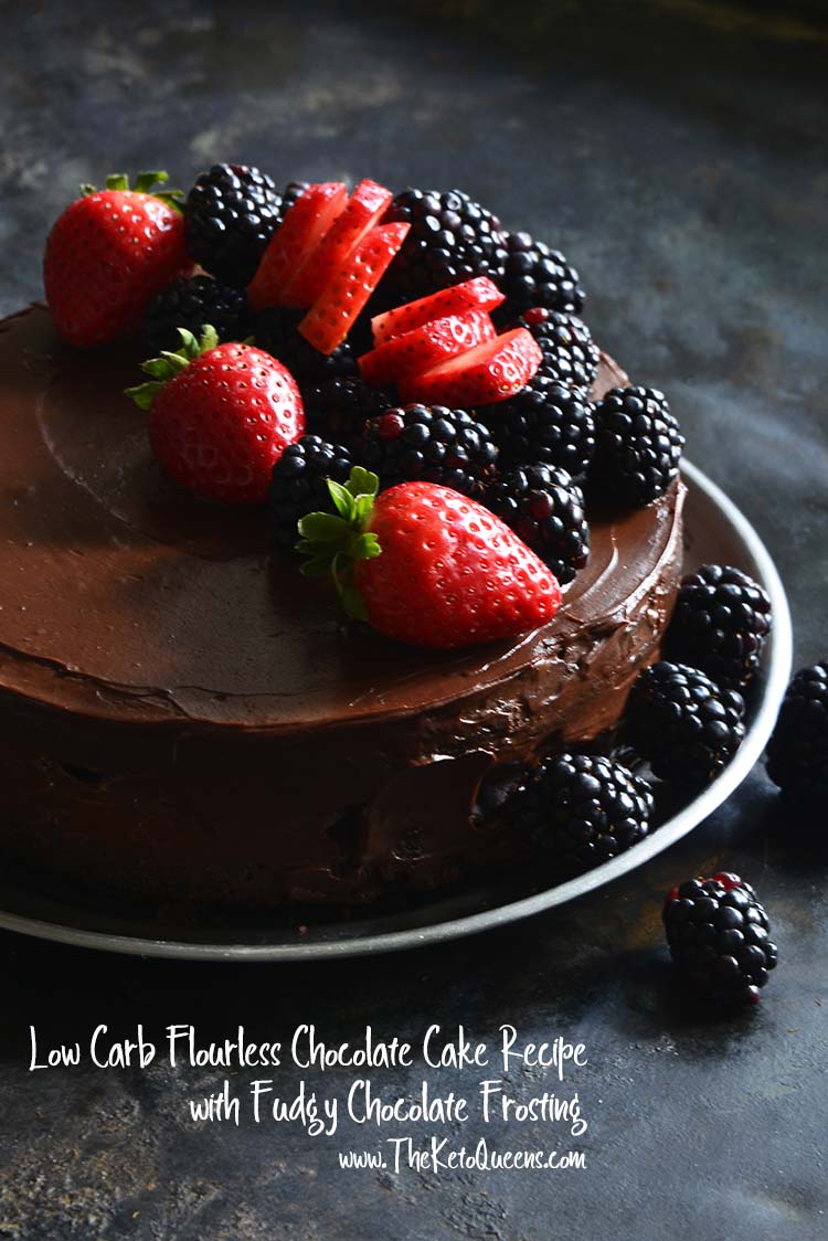 Low Carb Flourless Chocolate Cake Recipe with Fudgy Chocolate Frosting with Description