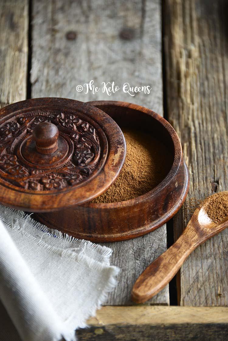 Pumpkin Spice Mix in Wooden Dish