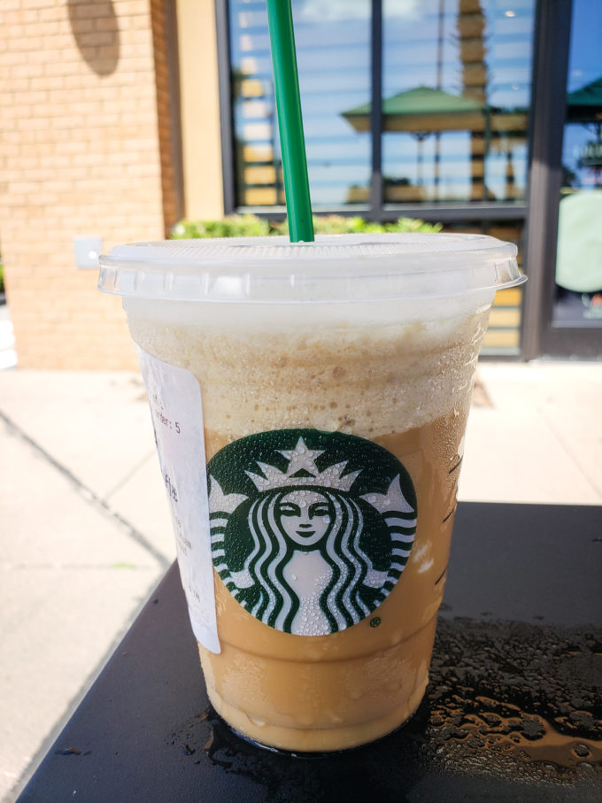 Image of a Keto Frappuccino outside of a starbucks on a table