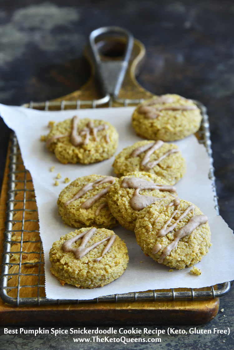 "This #Keto Best Pumpkin Spice Snickerdoodle Cookie Recipe is quick and easy to make and will have you reaching in the cookie jar for ""just one more cookie""."