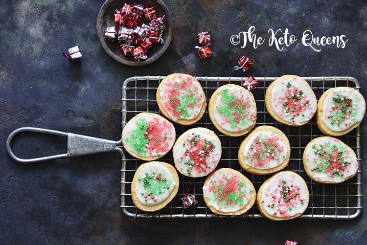 Close Up of Keto Christmas Sugar Cookies with Icing