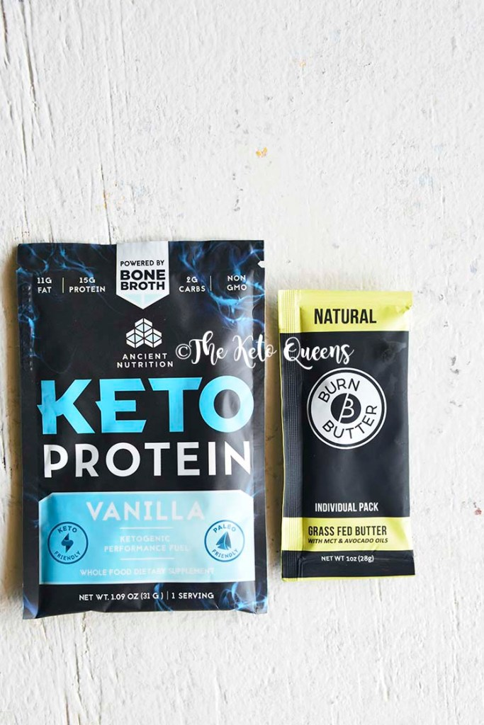 image of ancient nutrition keto protein packet and burn butter to go packet