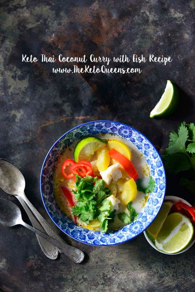 image of a bowl of thai coconut curry with red bell peppers and yellow squash with a title