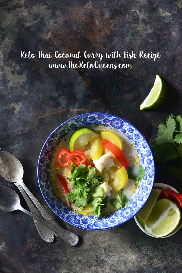 Spice up your fish dishes with our Thai Coconut Curry and fish recipe! Whip up this tasty new meal for you and your family in just 30 quick minutes! #keto #lowcarb #ketorecipes #lowcarbrecipes #curry #thaicurry #coconutcurry