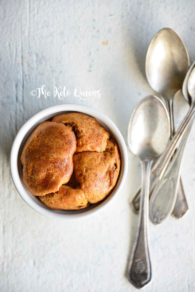 vertical image of Low Carb Brioche Bread with 3 spoons on a white background