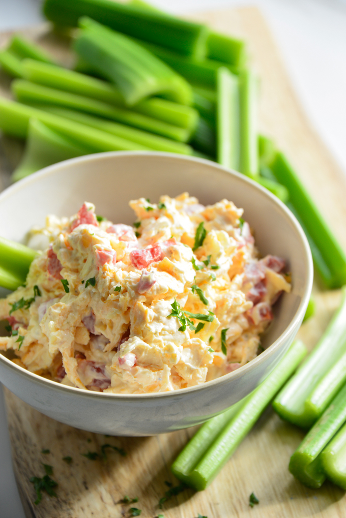This delicious pimento cheese recipe with celery is quick and so easy to make! Minimal ingredients and of course keto!