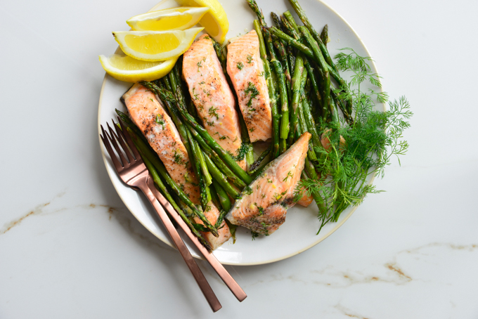 Butter Dill Baked Salmon Recipe with Roasted Asparagus