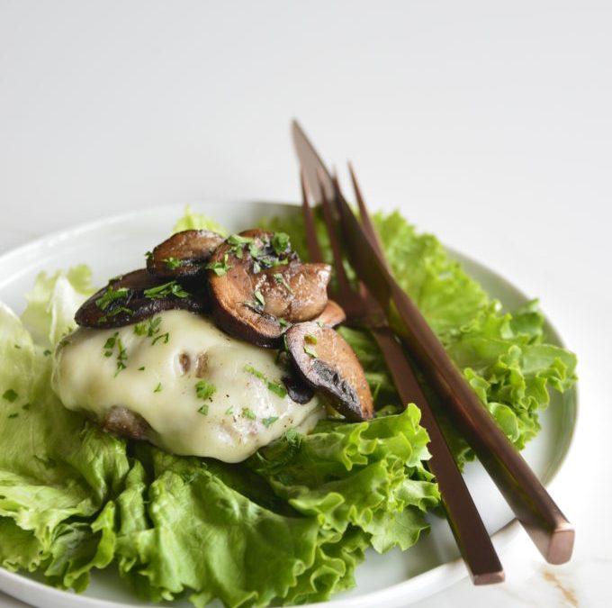 Lettuce Wrapped Mushroom Swiss Burgers