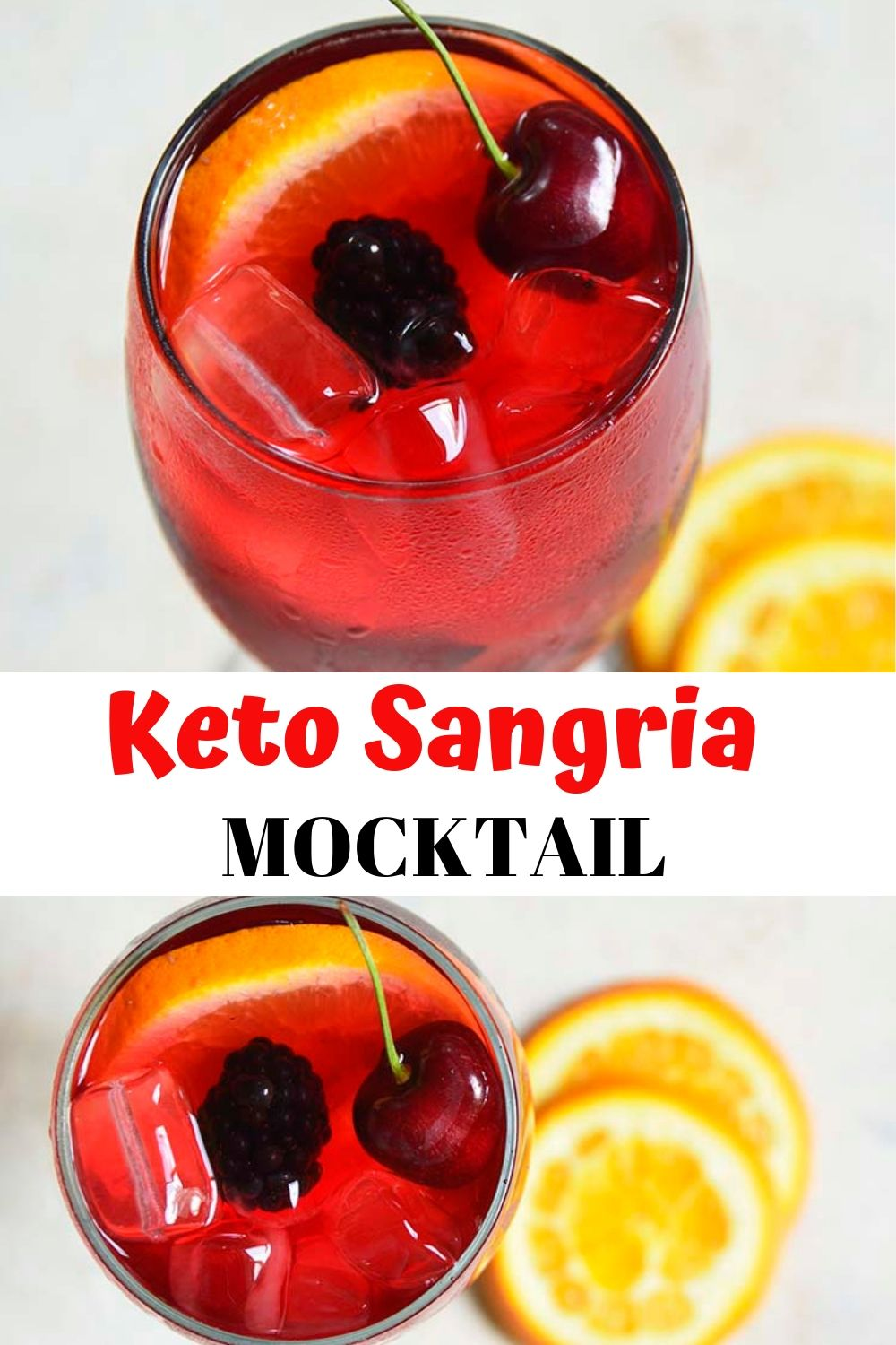 Keto Sangria Mocktail Recipe. This simple faux red sangria recipe is slightly sweet and refreshing. It's the perfect fruity Summery drink!