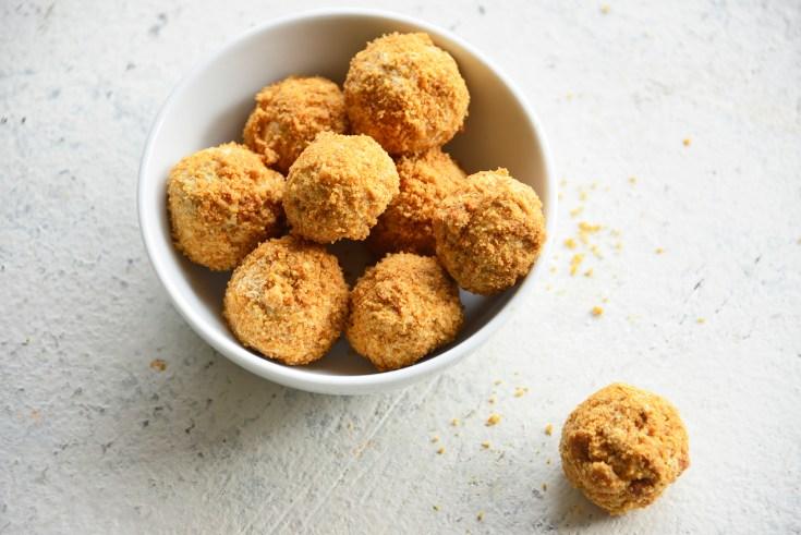 Keto PumpkinSpice Cream Cheese Fat Bombs in a white bowl
