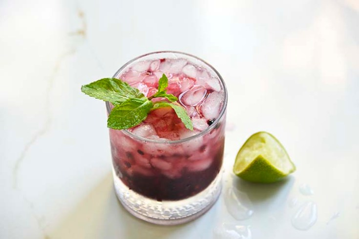 Sparkling Blackberry Bourbon Smash in a clear class topped with mint and lemon wedge on the side