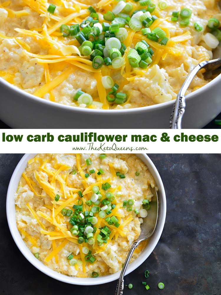 Best, Easiest Cauliflower Keto Mac and Cheese Recipe. A delicious low carb side dish perfect for family gatherings and holiday parties.