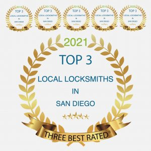 Awards showing The Key Crew is rated the top local locksmith in San Diego from 2016 - 2021.