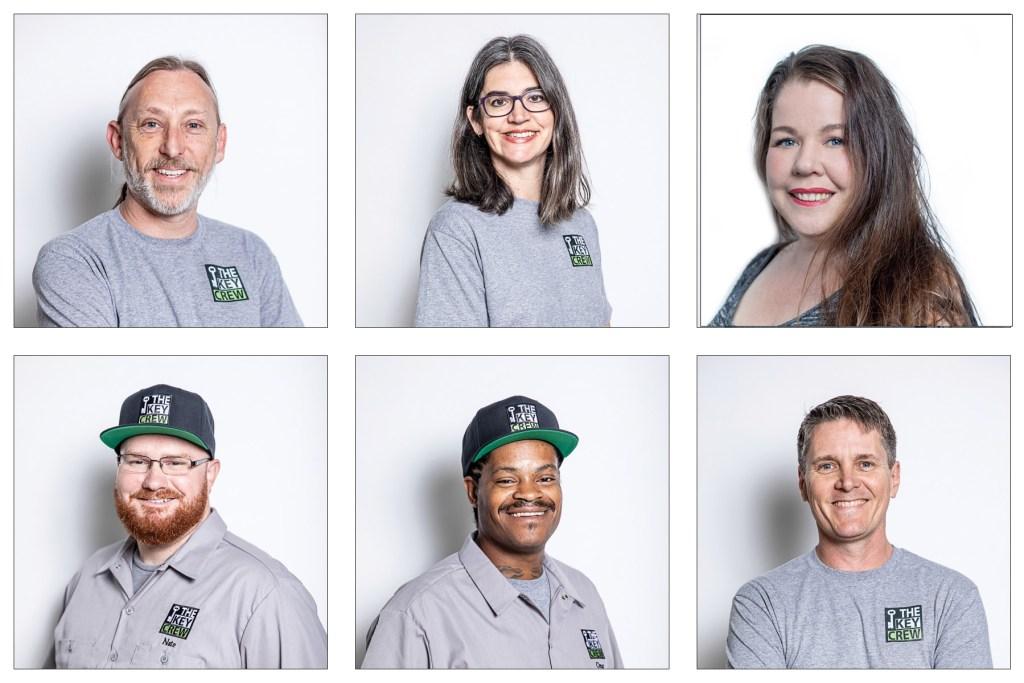 Photo collage of 6 portraits of The Key Crew Locksmith crew members