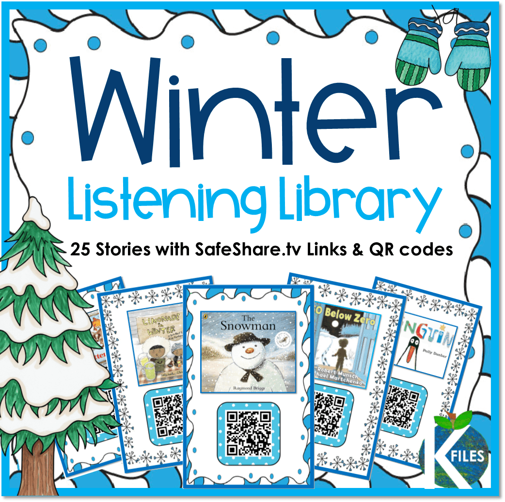 This January and Winter - themed Listening Center Library includes 24 stories with SafeShare.tv QR codes and one. You can use these during your Daily 5 centers: Listen to Reading or as whole group Read Alouds! All SafeShare.tv QR code links are safe to share with children without being afraid that they can get to potentially inappropriate content.