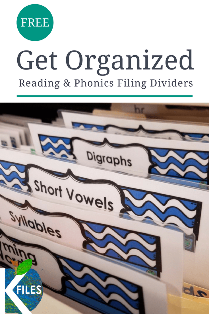 FREEBIE! Organize your teaching resources with this FREE set of filing tab dividers to include Phonics, Reading, Writing topics and more!