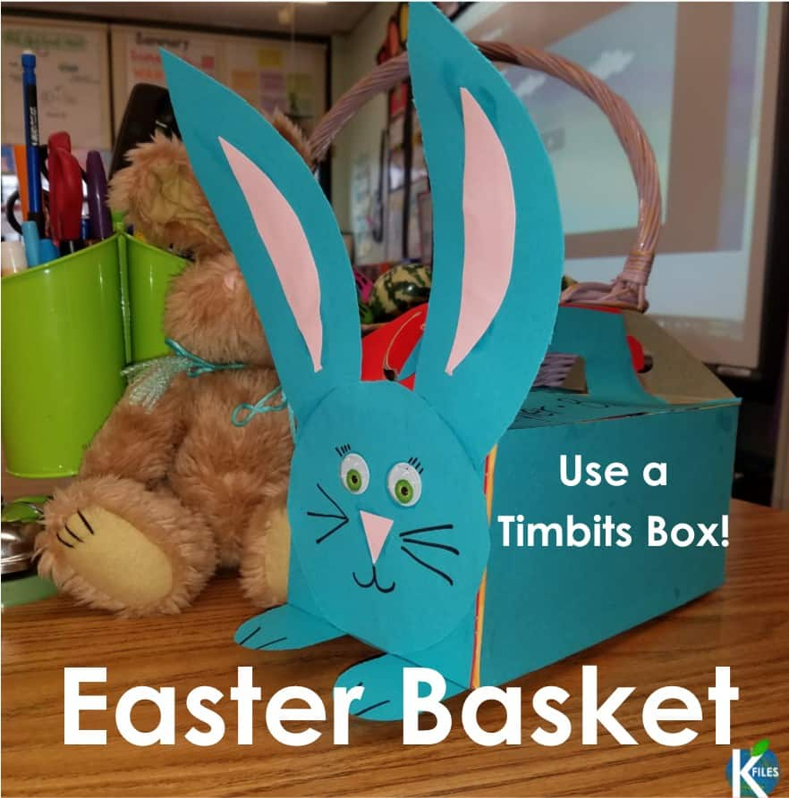 Use a Tim Hortons Timbits box as this years Easter basket for your students. Sturdy and secure! My kids loved it!