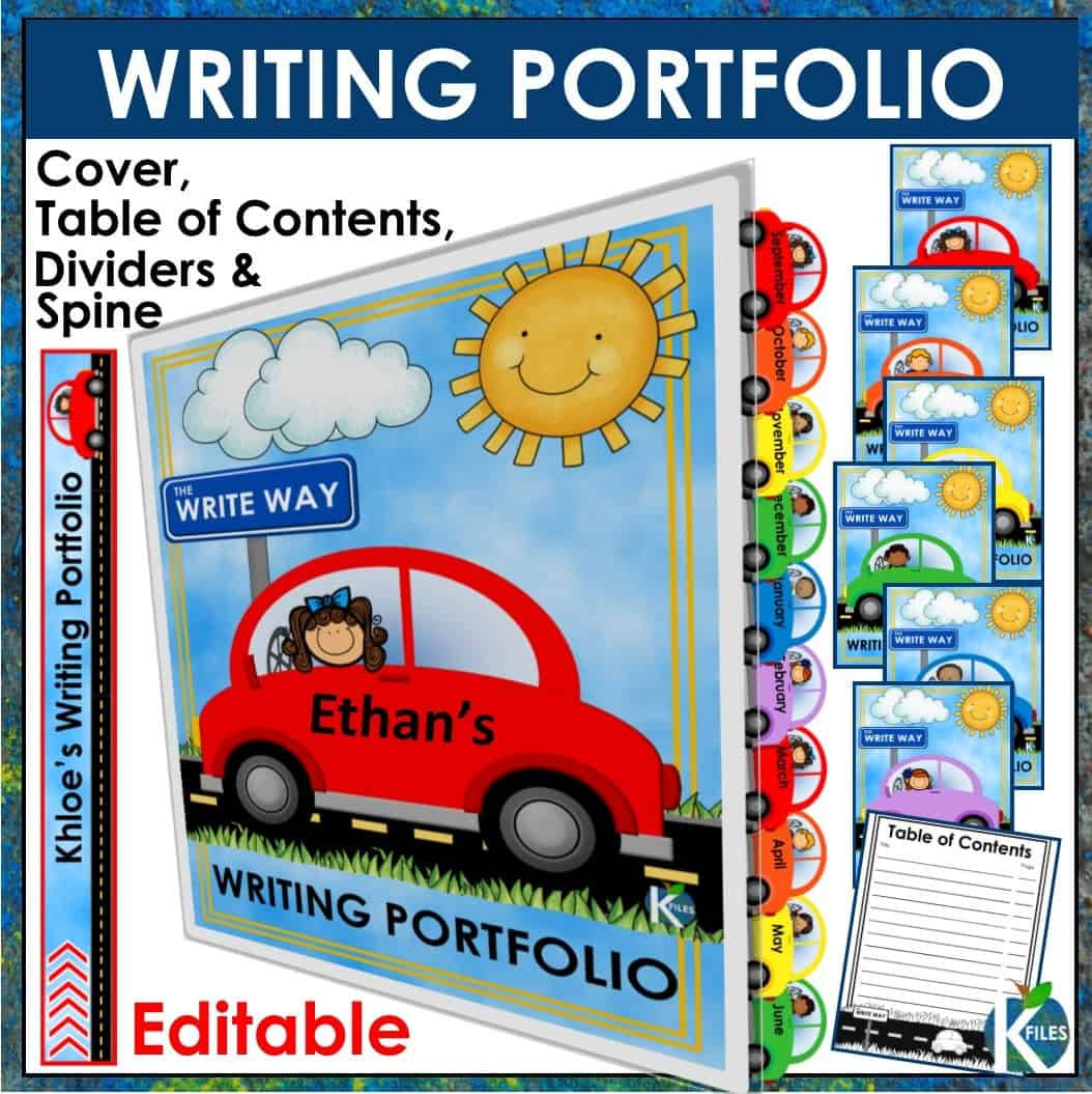 Use this resource to help showcase your student's writing throughout the year. Great for grades kindergarten to 6th! Includes a Writing Portfolio binder cover, spine label, Table of Contents and monthly dividers.