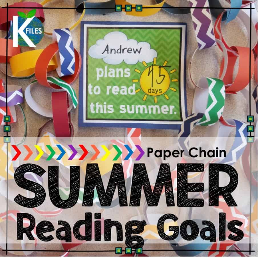 "Summer Reading Goals & Paper Chains provide both students and parents to avoid the ""summer slide"" and read during summer break. Students set reading goals for themselves. As they read over the summer, they break off one link as they reach their summer reading goal. This is a great end of the school year craftivity to motivate your students to continue reading over the summer."