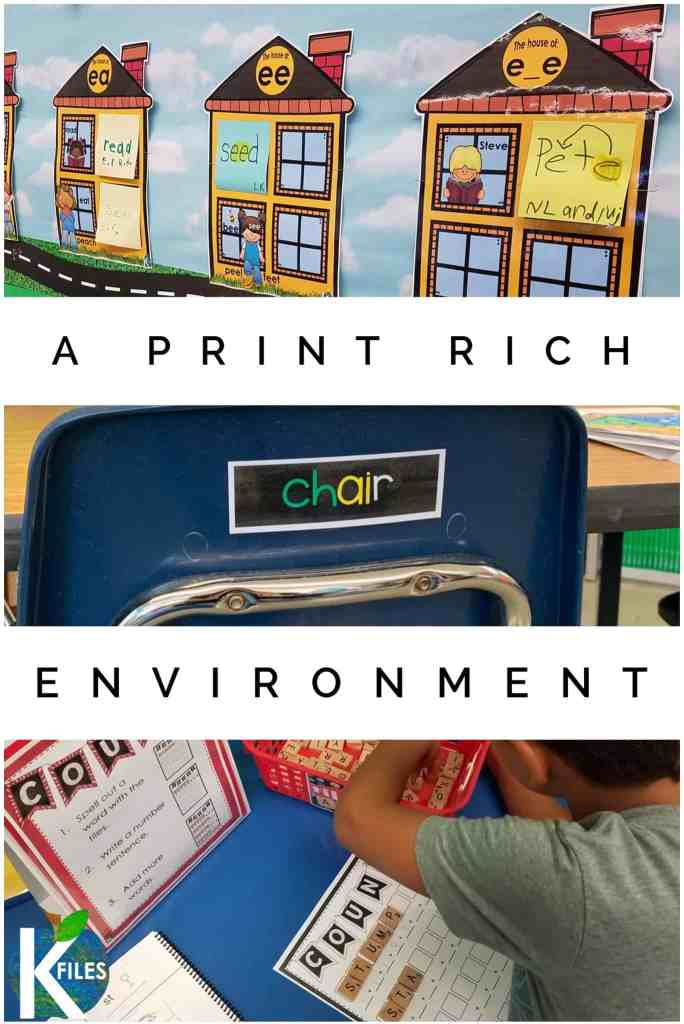 Providing your students with a print rich classroom has many benefits and can be done easily. Use these print rich classroom labels free in this blog post along with a phonics word wall and both interactive and engaging print rich classroom manipulatives in your literacy centers. Your students will build their phonemic awareness because they are surrounded with meaningful text experiences. #phonics #printrichenvironment #firstgrade #literacy