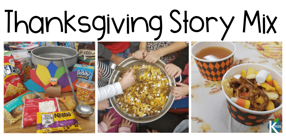 A Thanksgiving feast idea for your classroom that tells the story of the first Thanksgiving. This chex mix recipe will help your students visualize the first Thanksgiving. One of 4 Must Do Thanksgiving Activities in the classroom.