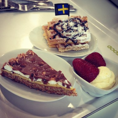 Chocolate and Almond Cake and Waffles with Strawberries and Cream