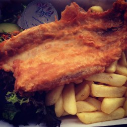 Barramundi with Chips and Salad