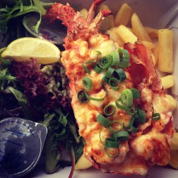Half Lobster Mornay with Chips and Salad