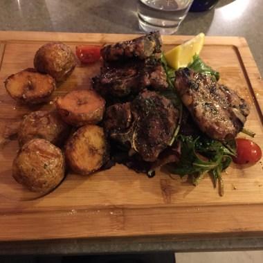 Lamb, Baked Potatoes, Garden Salad