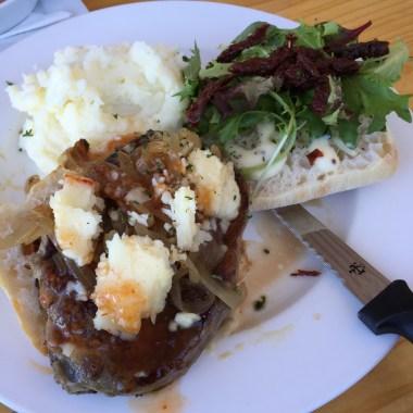 Open Steak Sandwich, Caramelised Onions With Aioli, Mash