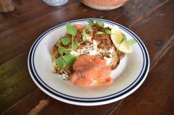 Poached Eggs, Hot Smoked Salmon, Ginger, Leek, Labne and Zaatar (2)